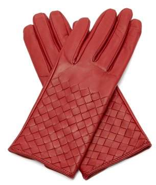 Bottega Veneta Intrecciato Leather Gloves - Womens - Red