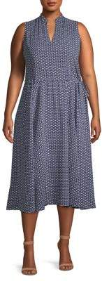 Anne Klein Plus Splitneck Drawstring Midi Dress