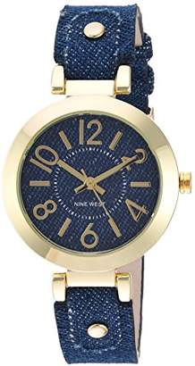 Nine West Women's NW/1712DDDM Gold-Tone and Dark Blue Denim Strap Watch
