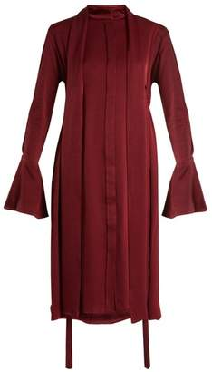 Ellery Inez Drawstring Crepe Back Satin Dress - Womens - Burgundy