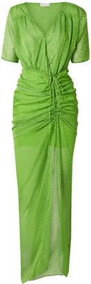 Eywasouls Malibu Elke Ruched Polka-dot Chiffon Maxi Dress - Bright green