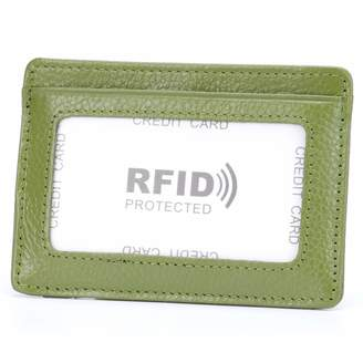 aa3b62d093c2d MuLier Genuine Leather Slim Credit Card Holder Front ID Window Anti-RFID Small  Wallet