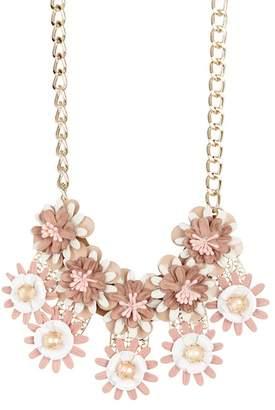 Natasha Accessories Gold-Tone Filigree and Stone Embellished Floral Bib Necklace