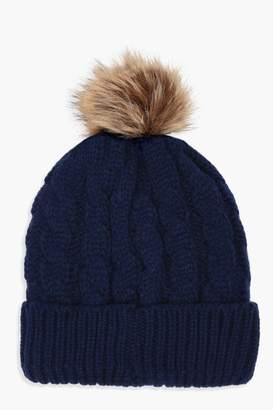 boohoo Cable Knit Faux Fur Pom Beanie