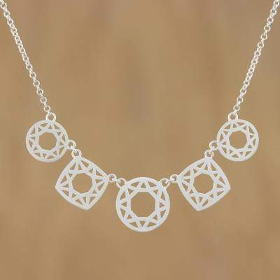 Handmade Modern Sterling Silver Pendant Necklace, 'Starlight Geometry'