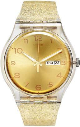 Swatch Women's Swiss Golden Sparkle Gold-Tone Glitter Semi-Transparent Silicone Strap Watch 41mm SUOK704 $70 thestylecure.com