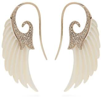 Noor Fares Fly Me To The Moon Diamond & Pearl Wing Earrings - Womens - Pearl