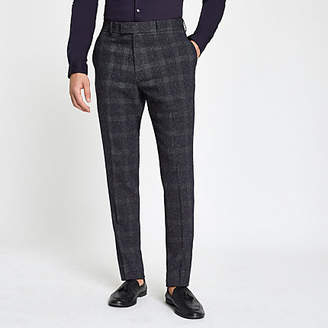 River Island Farah blue check skinny suit trousers