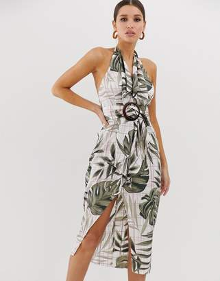Asos Design DESIGN satin midi dress with trench detail and horn buckle in palm print