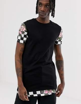 Asos DESIGN super longline t-shirt with checkerboard rose print & hem extender