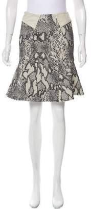 Yigal Azrouel Leather-Trimmed Matelassé Skirt