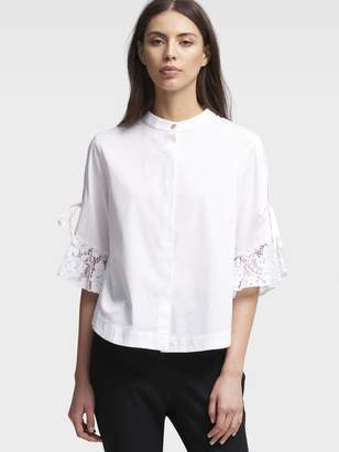 DKNY Poplin Top With Lace Sleeves