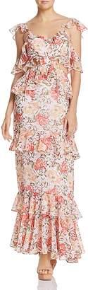 WAYF Milan Ruffled Cutout Maxi Dress
