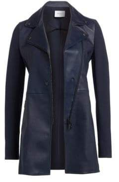 Akris Punto Leather Faced Long-Line Biker Jacket