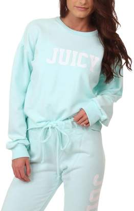 Juicy Couture Womens French Terry Logo Sweatshirt Blue S