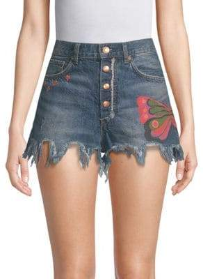 Free People Fields of Sun Graphic Denim Shorts