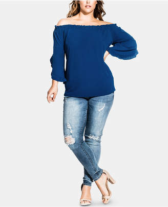 City Chic Plus Size Frill Elbow-Sleeve Top