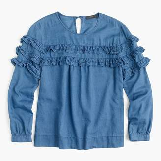 J.Crew Tiered top in chambray