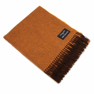 Heating & Plumbing London Merino Lambswool Throw Burnt Orange With Brown Tassels