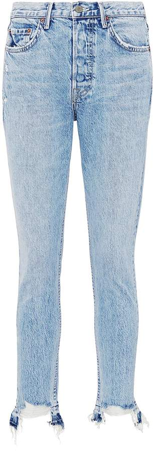 'Karolina' ripped cuff jeans