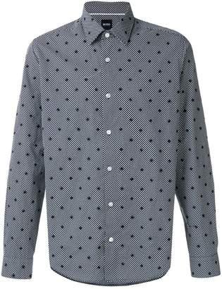 HUGO BOSS embroidered polka dot shirt