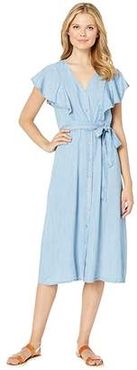 Vince Camuto Sleeveless Ruffle Front Belted Lyocell Dress