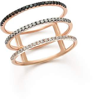 Bloomingdale's White and Black Diamond Micro Pave Three-Row Band in 14K Rose Gold - 100% Exclusive