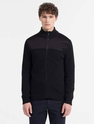 Calvin Klein mixed media zip sweater