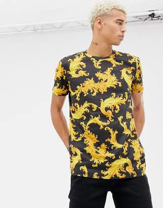 Criminal Damage t-shirt in black with baroque print
