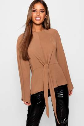 boohoo Petite Woven Tie Front Blouse