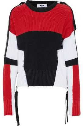 MSGM Zip-Detailed Color-Block Cotton Sweater
