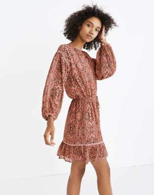 Madewell Drawstring Peasant Dress in Kaleidoscope Print