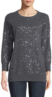 Neiman Marcus Cashmere Sequined Crewneck Sweater