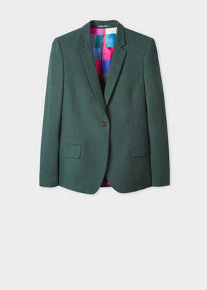 Paul Smith Women's Forest Green Cotton-Blend Flannel Blazer