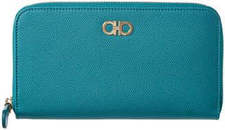 Salvatore Ferragamo Double Gancini Leather Zip Around Wallet
