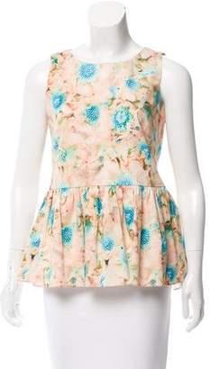 Zac Posen Sleeveless Floral Print Top