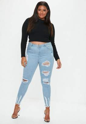 Missguided Plus Size Blue Highwaisted Chew Hem Skinny Jeans