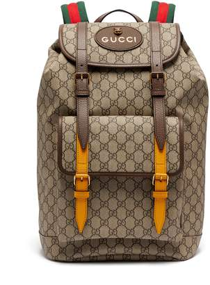 Gucci GG Supreme-print leather-trimmed canvas backpack