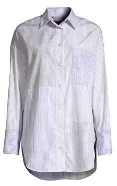 Piazza Sempione Patchwork Stripe Cotton Shirt