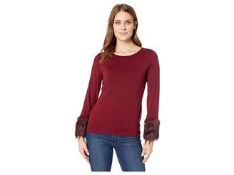 Vince Camuto Long Sleeve Fur Cuff Top