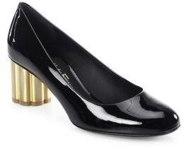 Salvatore Ferragamo Lucca Patent Leather Flower Heel Pumps