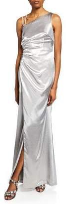 Aidan Mattox One-Shoulder Asymmetric Satin Gown with Slit