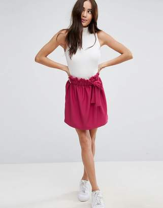 Asos Textured Mini Skater Skirt With Paperbag Waist And Belt