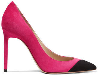 Saint Laurent Anja Two-tone Suede Pumps - Fuchsia