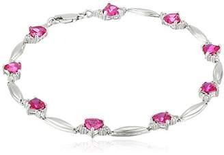 Sterling Silver Heart-Shaped Garnet Bracelet with 0.01 cttw Diamonds