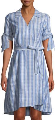 Neiman Marcus Tie-Sleeve Striped Faux-Wrap Dress