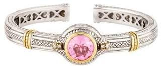 Judith Ripka Pink Crystal & Diamond Kick Cuff