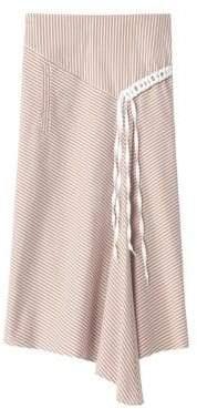 Tibi Women's Kaia Striped Asymmetric Landyard Skirt - Khaki White - Size 2