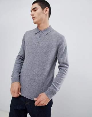 Benetton 100% merino knitted polo in light grey