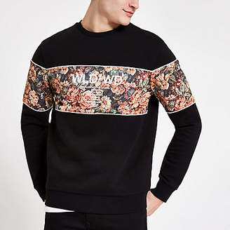 River Island Black floral block slim fit sweatshirt
